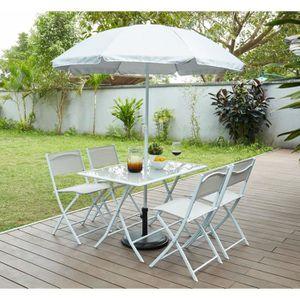 Ensemble table et chaise de jardin SAMOA Ensemble table avec plateau en verre, 4 chai
