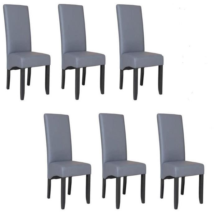 Cuba lot de 6 chaises de salle a manger en simili gris for Salle À manger contemporaineavec lot chaises