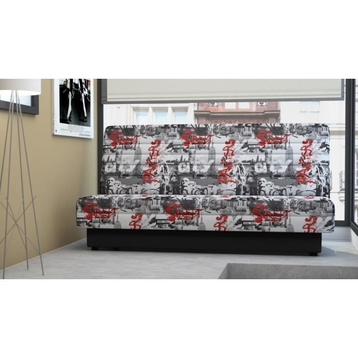 finlandek banquette clic clac nukkuva 2 places tissu graffiti achat vente clic clac. Black Bedroom Furniture Sets. Home Design Ideas