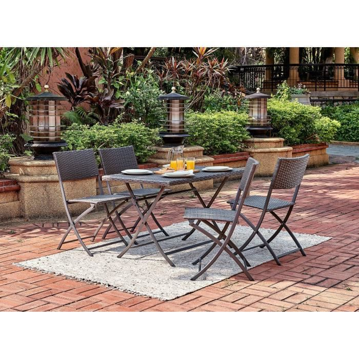 Table ronde 4 chaises jardin
