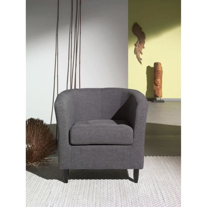 orleans fauteuil cabriolet en tissu gris achat vente. Black Bedroom Furniture Sets. Home Design Ideas