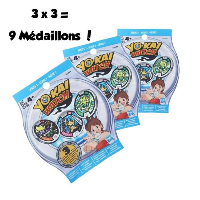 Yo kai pack 3 sachets myst re de 3 m daillons achat for Salle de bain yo kai watch 2