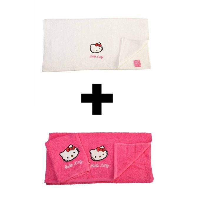lot 1 drap bain 1 serviette 1 gant hello kitty achat vente serviettes de bain cdiscount. Black Bedroom Furniture Sets. Home Design Ideas