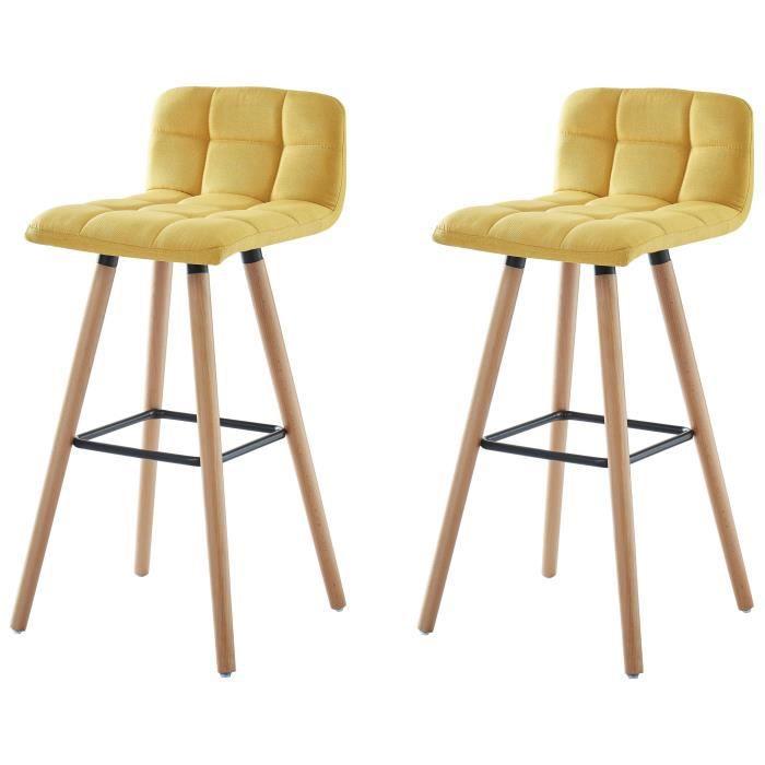 STINA Lot de bar 2 tabourets de bar en bois hêtre massif - Revêtement tissu  jaune - Scandinave - L 42 x P 49 cm