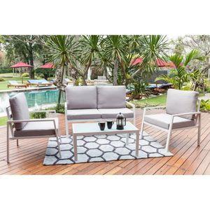 Ensemble table et chaise de jardin BEAU RIVAGE Salon de jardin en aluminium 4 places