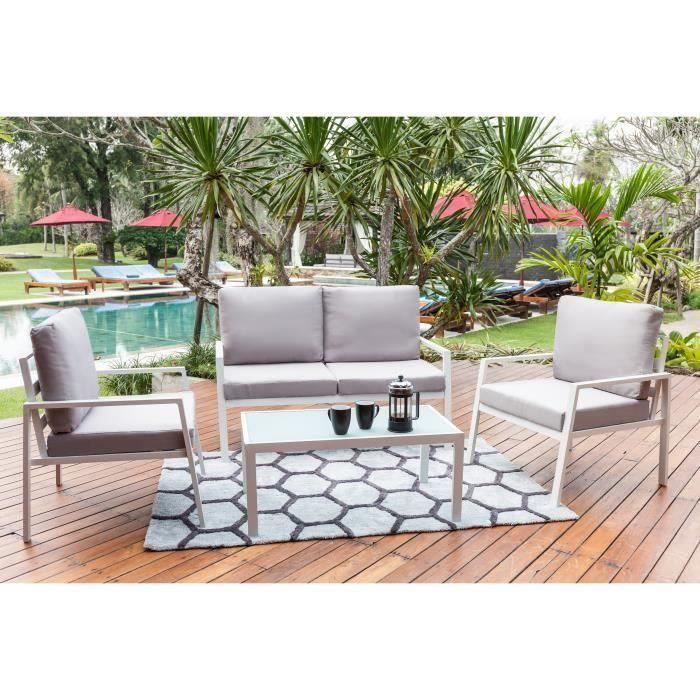 Salon bas de jardin Salon de jardin en aluminium 4 places avec banquet