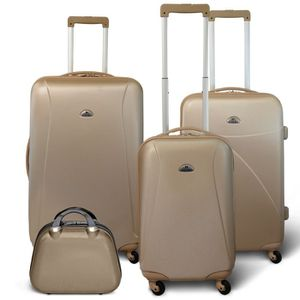 SET DE VALISES KINSTON Set 3 valises 4 roues + Vanity Beige