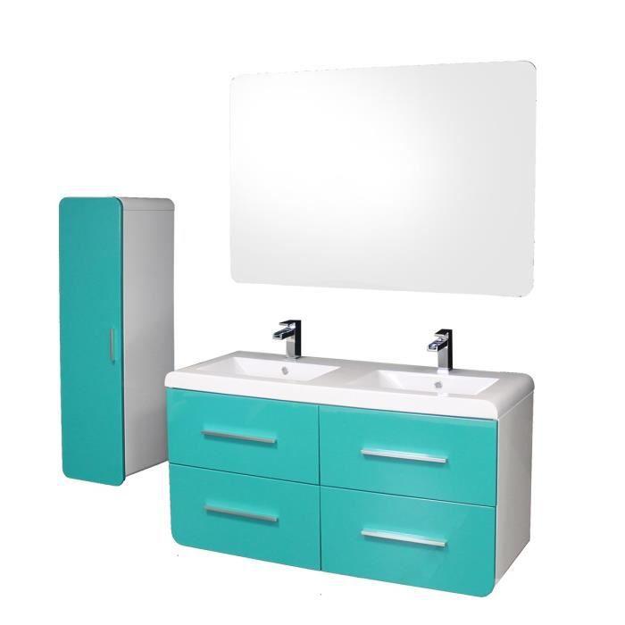 GINO Salle de bain complète double vasque L 121 cm - Bleu ...
