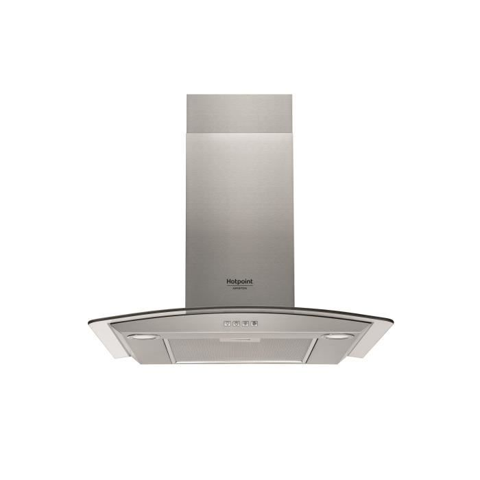 Hotpoint hhgc 6 4f am x hotte d corative murale for Hotte evacuation ou recyclage