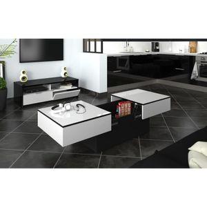 TABLE BASSE AMELIA Table basse - Blanc et Noir - L 113 x P 60