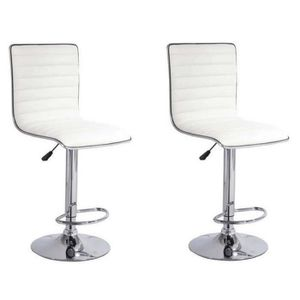 TABOURET DE BAR SLIM Lot de 2 tabourets de bar en simili Blanc