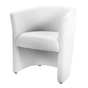 FAUTEUIL BAYA Fauteuil cabriolet - Simili blanc - L 65 x P