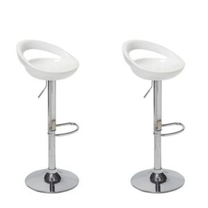 TABOURET DE BAR MOON Lot de 2 tabourets de bar - Blanc - Style con