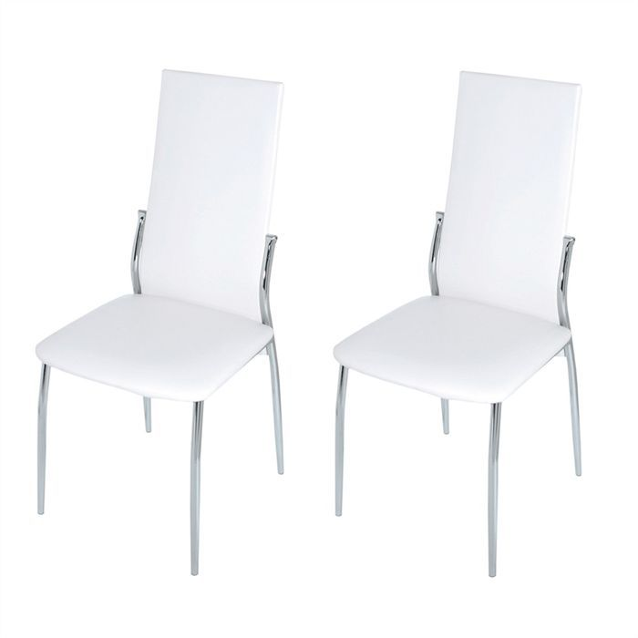 lot de 2 chaises blanches bianca achat vente chaise tube m tal cdiscount. Black Bedroom Furniture Sets. Home Design Ideas
