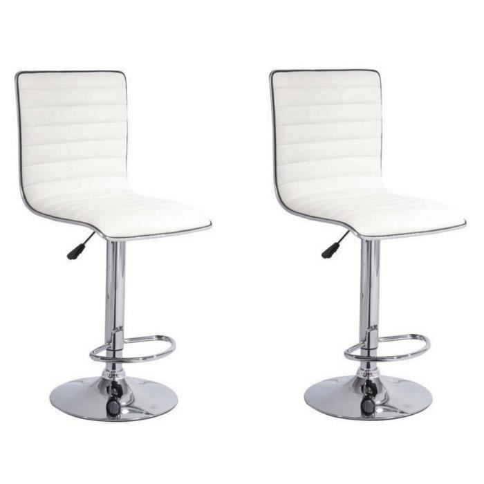 SLIM Lot de 2 tabourets de bar - Simili blanc - Contemporain - L 40,5 x P  48 cm f6b0ffddd86e