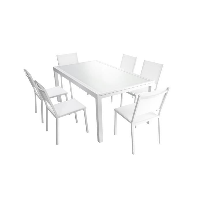 Ensemble table en verre extensible de jardin 180 240 cm for Table verre blanc extensible