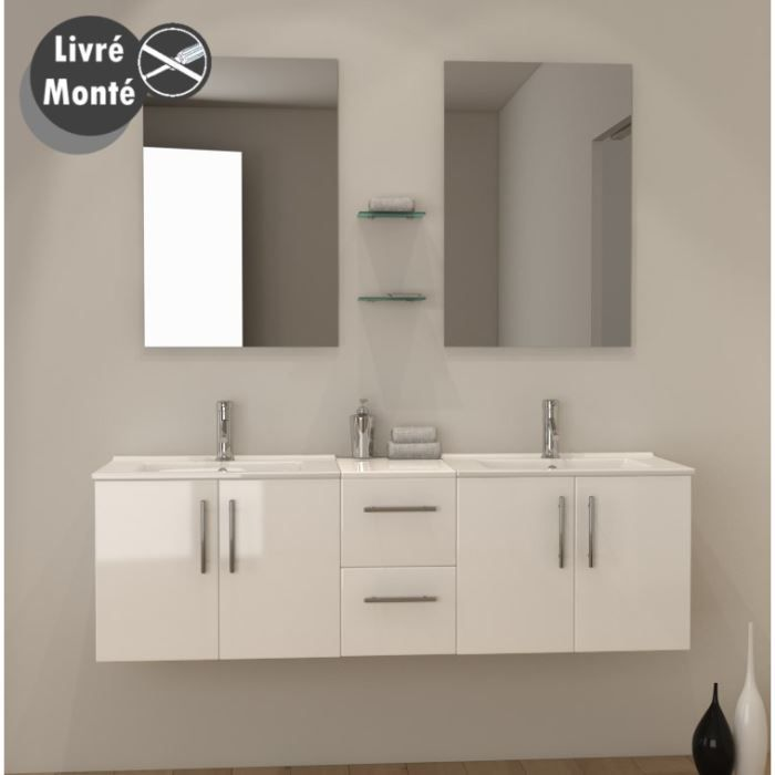 tiana double vasque 150 cm blanc brillant achat vente salle de bain complete tiana double. Black Bedroom Furniture Sets. Home Design Ideas