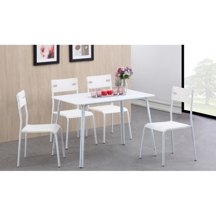 Aaron ensemble repas coloris blanc 5 pi ces 1 table 4 for Revetement table cuisine