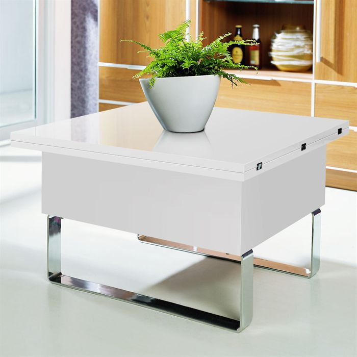 Ultima table basse relevable blanche achat vente table for Table basse blanche plateau relevable