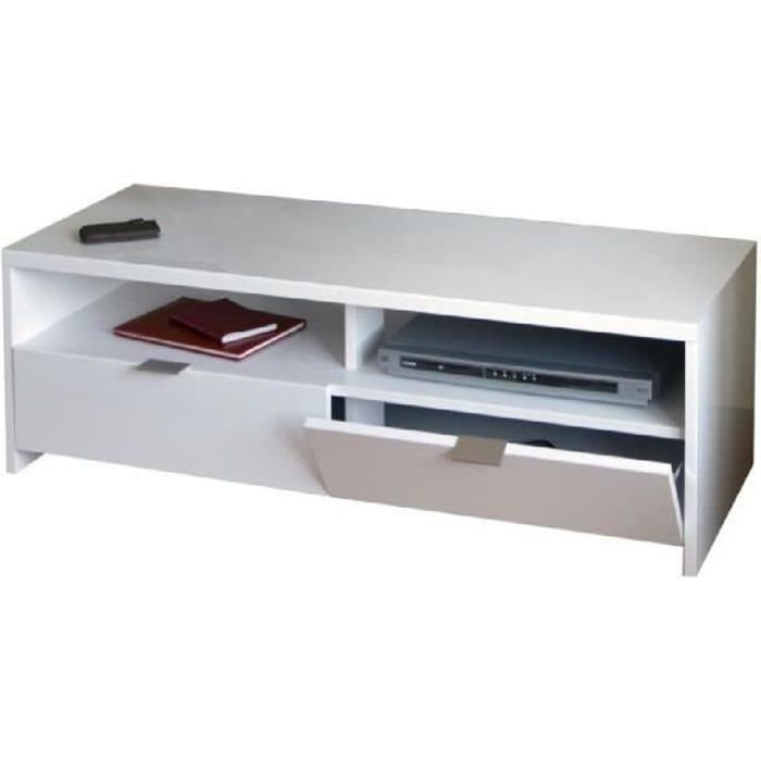 Banco meuble tv contemporain blanc brillant l 110 cm for Meuble longueur 110 cm