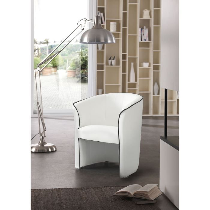 Baya fauteuil cabriolet blanc achat vente fauteuil rev tement simili 94 p - Fauteuil cabriolet blanc ...