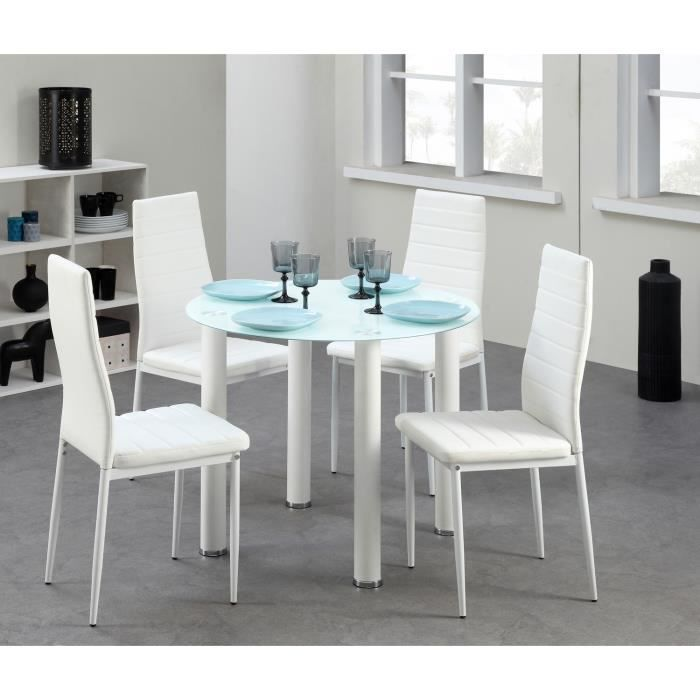 berenice ensemble table manger ronde en verre 4 personnes 90 cm 4 chaises en simili blanc. Black Bedroom Furniture Sets. Home Design Ideas