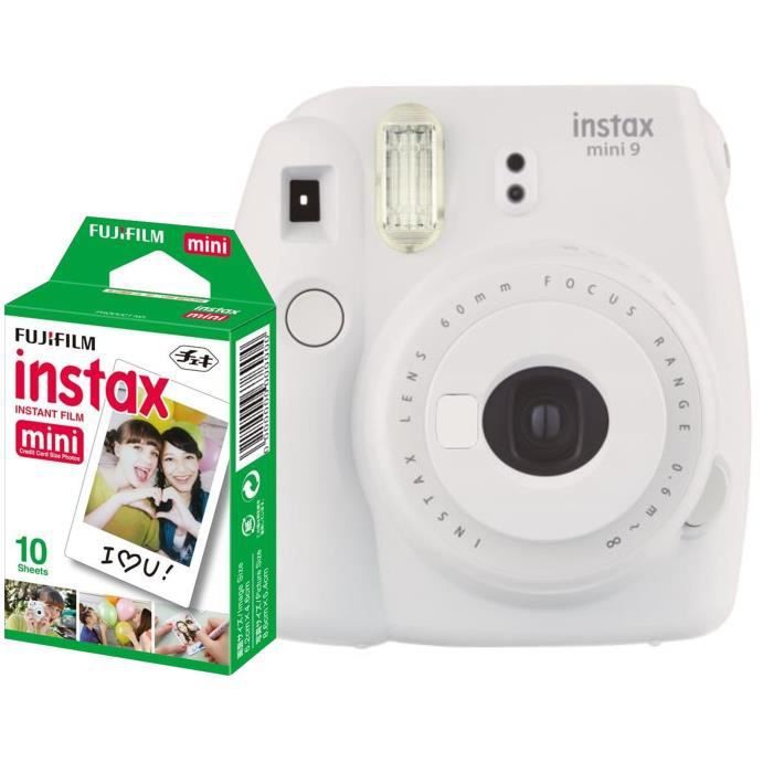 APP. PHOTO INSTANTANE Fujifilm Instax Mini 9 Blanc + 10 Pellicules coule