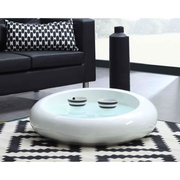 circle table basse ronde fibre de verre laqu e blanc achat vente table basse circle table. Black Bedroom Furniture Sets. Home Design Ideas