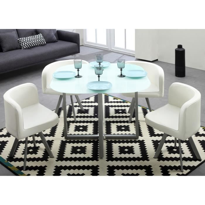 cosmic ensemble table manger 4 personnes 100x100 cm 4 chaises en simili blanc achat. Black Bedroom Furniture Sets. Home Design Ideas