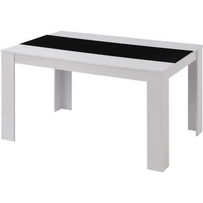 damia table manger 6 personnes 140x90 cm noir et blanc achat vente table a manger seule. Black Bedroom Furniture Sets. Home Design Ideas