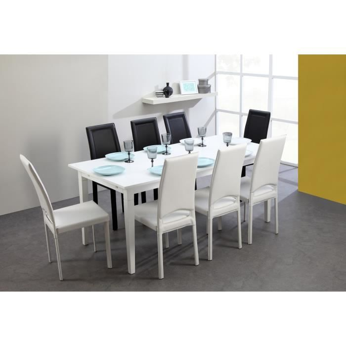 Denver table de s jour 180 270 cm pin laqu blanc achat - Table sejour blanc laque ...