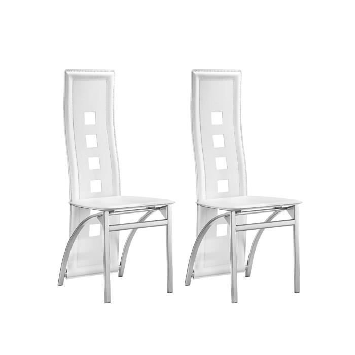 eiffel lot de 2 chaises de salle manger blanc et gris. Black Bedroom Furniture Sets. Home Design Ideas