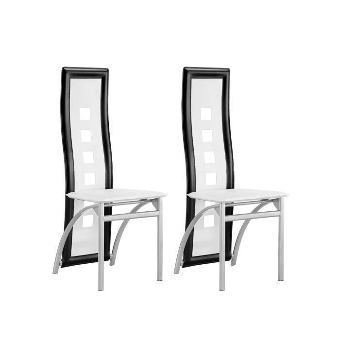 eiffel lot de 2 chaises de salle manger noir et blanc achat vente chaise noir rev tement. Black Bedroom Furniture Sets. Home Design Ideas