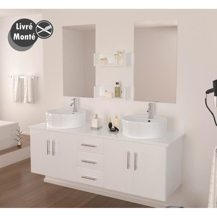 diva salle de bain compl te double vasque 150 cm laqu blanc brillant ach. Black Bedroom Furniture Sets. Home Design Ideas