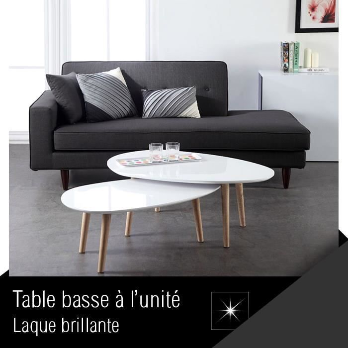 Galet table basse 88 cm laqu e blanche achat vente table basse galet tabl - Table basse gigogne blanche ...