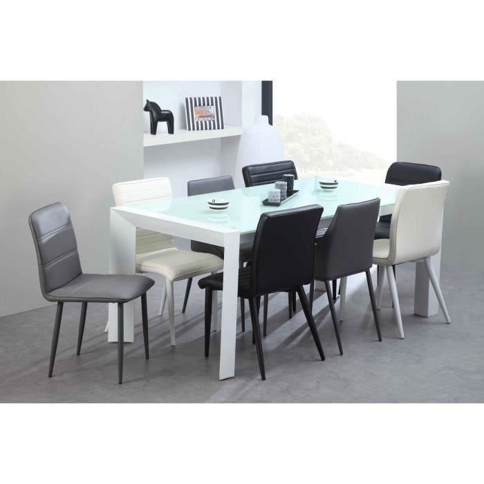 milano table manger extensible en m tal et verre tremp 8 10 personnes 180 230x90 cm laqu. Black Bedroom Furniture Sets. Home Design Ideas