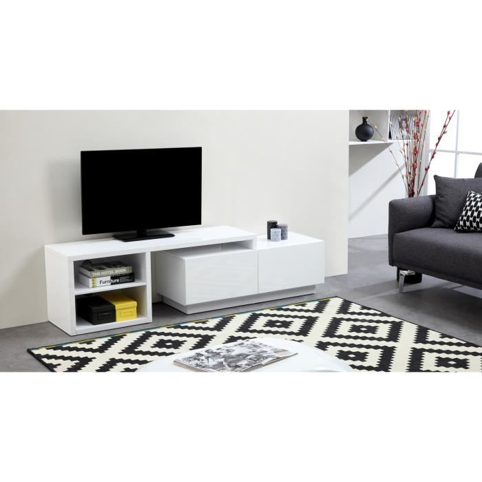 lounge meuble tv extensible 150 280 cm laqu blanc achat vente meuble tv lounge meuble tv. Black Bedroom Furniture Sets. Home Design Ideas