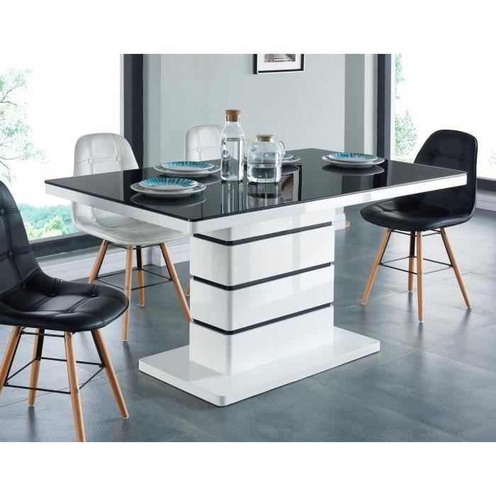 lucia table manger 6 pesonnes 150x90 cm noir et blanc. Black Bedroom Furniture Sets. Home Design Ideas