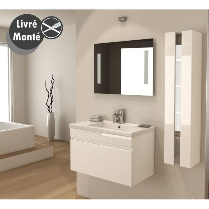 Alban ensemble salle de bain simple vasque 80 cm blanc for Meuble salle de bain simple vasque 120 cm