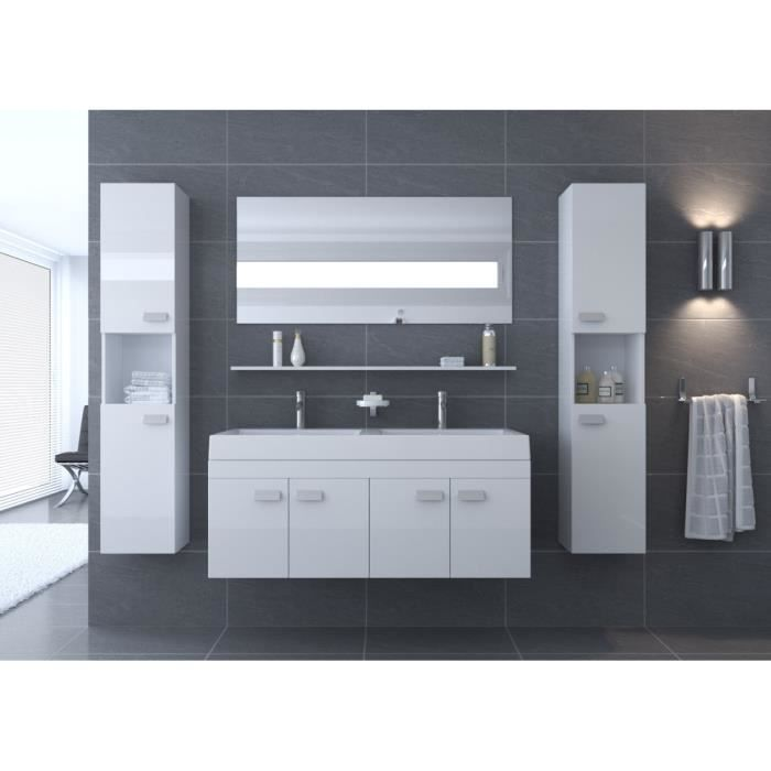alpos salle de bain compl te double vasque 120 cm blanc brillant achat vente salle de bain. Black Bedroom Furniture Sets. Home Design Ideas