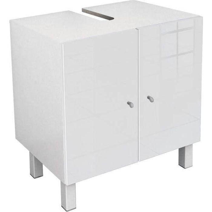 CORAIL Meuble sous-lavabo L 60 cm - Blanc laqué - Achat ...
