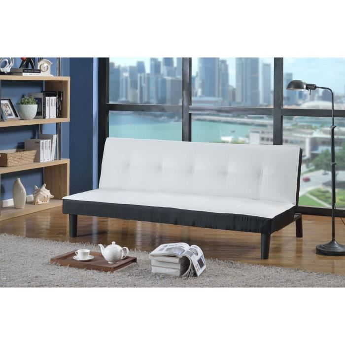 soft banquette clic clac convertible lit 3 places simili blanc noir achat vente clic clac. Black Bedroom Furniture Sets. Home Design Ideas
