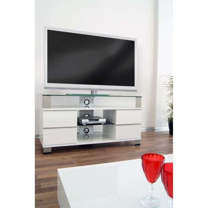 pone meuble tv laqu blanc 120cm achat vente meuble tv. Black Bedroom Furniture Sets. Home Design Ideas