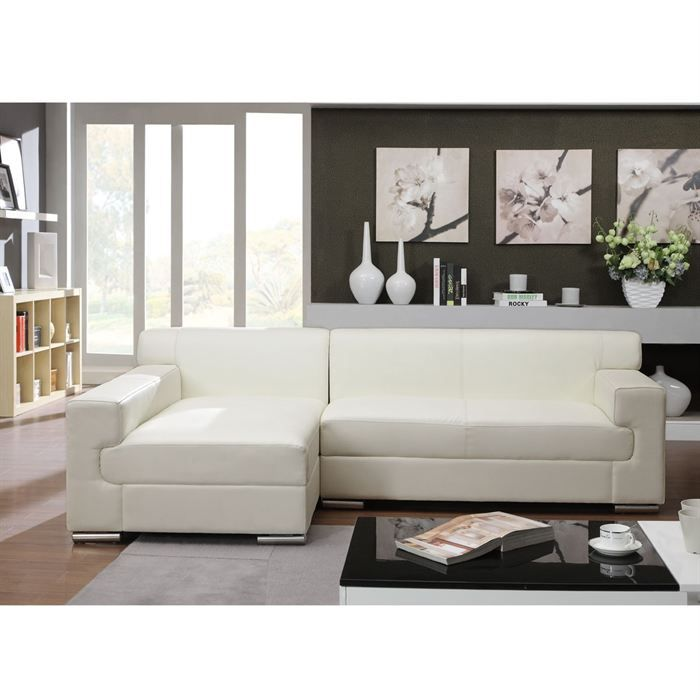 cubo canap d 39 angle gauche fixe cuir et simili 5 places 149x150x75 cm blanc achat vente. Black Bedroom Furniture Sets. Home Design Ideas