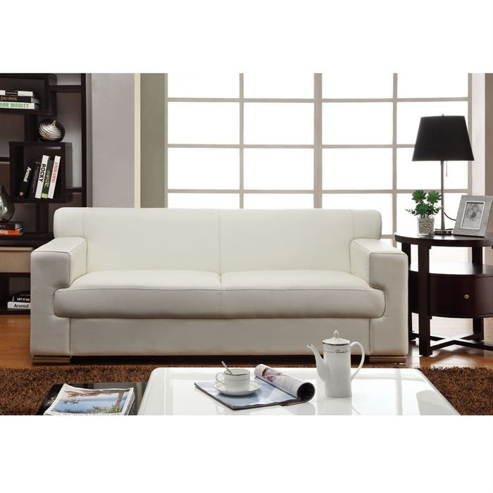 Cubo canap droit 3 places cuir buffle blanc achat vente canap sofa - But canape cuir 3 places ...