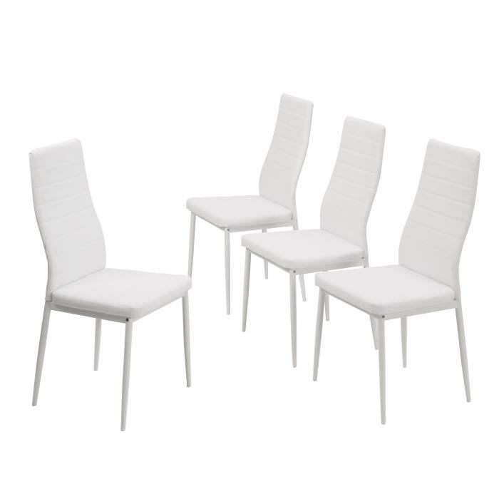 Sam lot de 4 chaises blanches achat vente chaise pu - Lot 4 chaises blanches ...