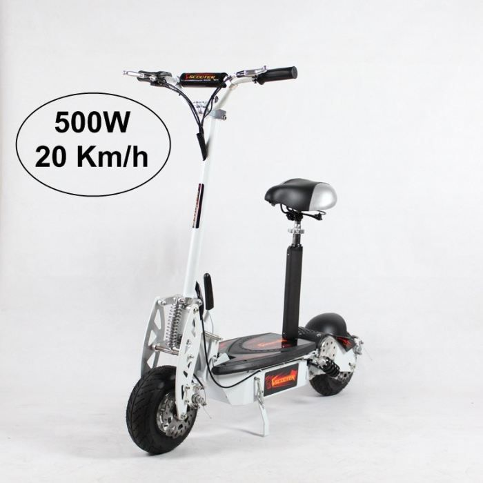 trottinette electrique adulte 500w blanc achat vente trottinette electrique trottinette. Black Bedroom Furniture Sets. Home Design Ideas