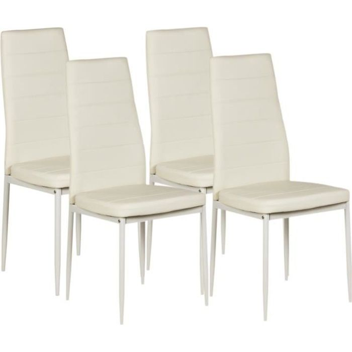 vogue lot de 4 chaises de salle manger blanches achat vente chaise structure m tal 1 mm. Black Bedroom Furniture Sets. Home Design Ideas