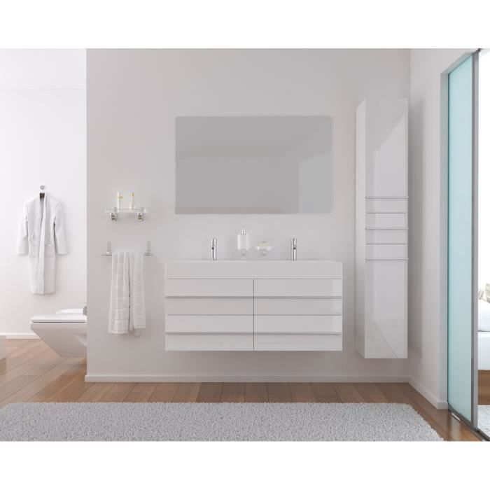 loft salle de bain compl te double vasque 120cm blanc. Black Bedroom Furniture Sets. Home Design Ideas
