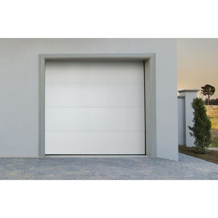 Porte de garage sectionnelle motoris blanche white flat for Porte jarretelle h m